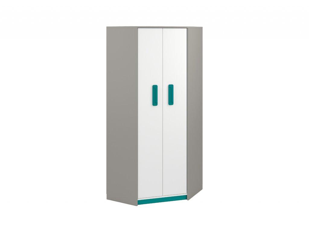 Rohová šatní skříň IQ 01, modro/zelená