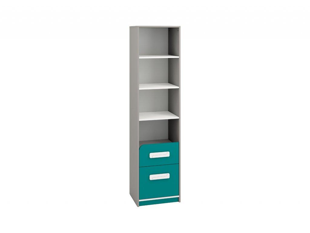 Knihovna se zásuvkami IQ 06, modro/zelená - SKLADEM 1 KS