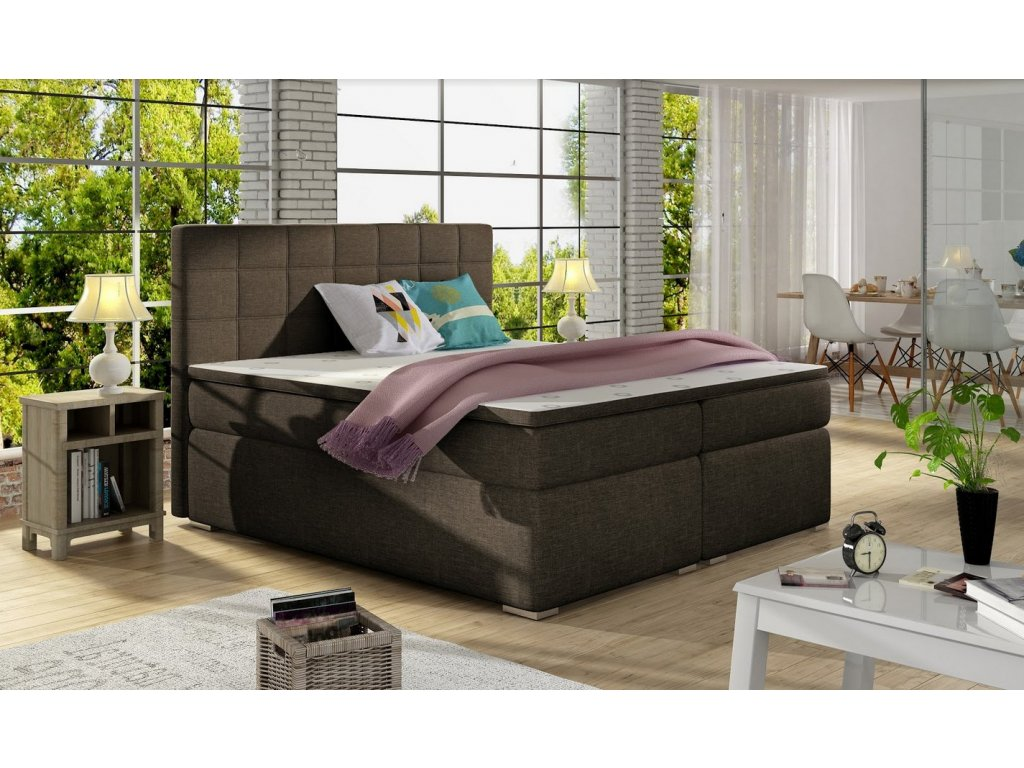 Manželská postel AMANDA BOXSPRINGS 160x200 (sawana 26)