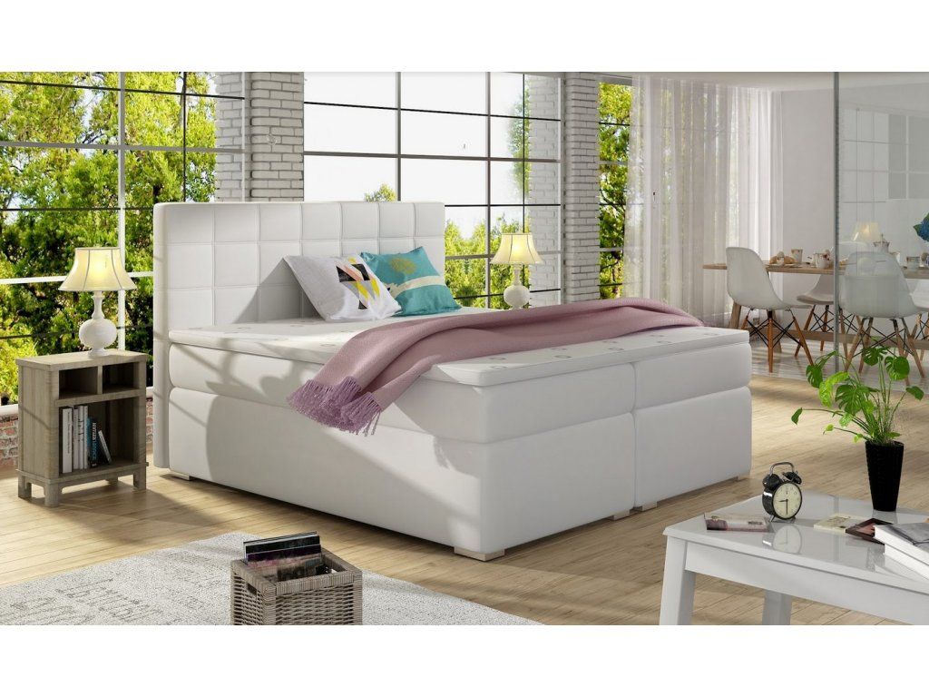 Manželská postel AMANDA BOXSPRINGS 180x200 (ekokůže soft017)