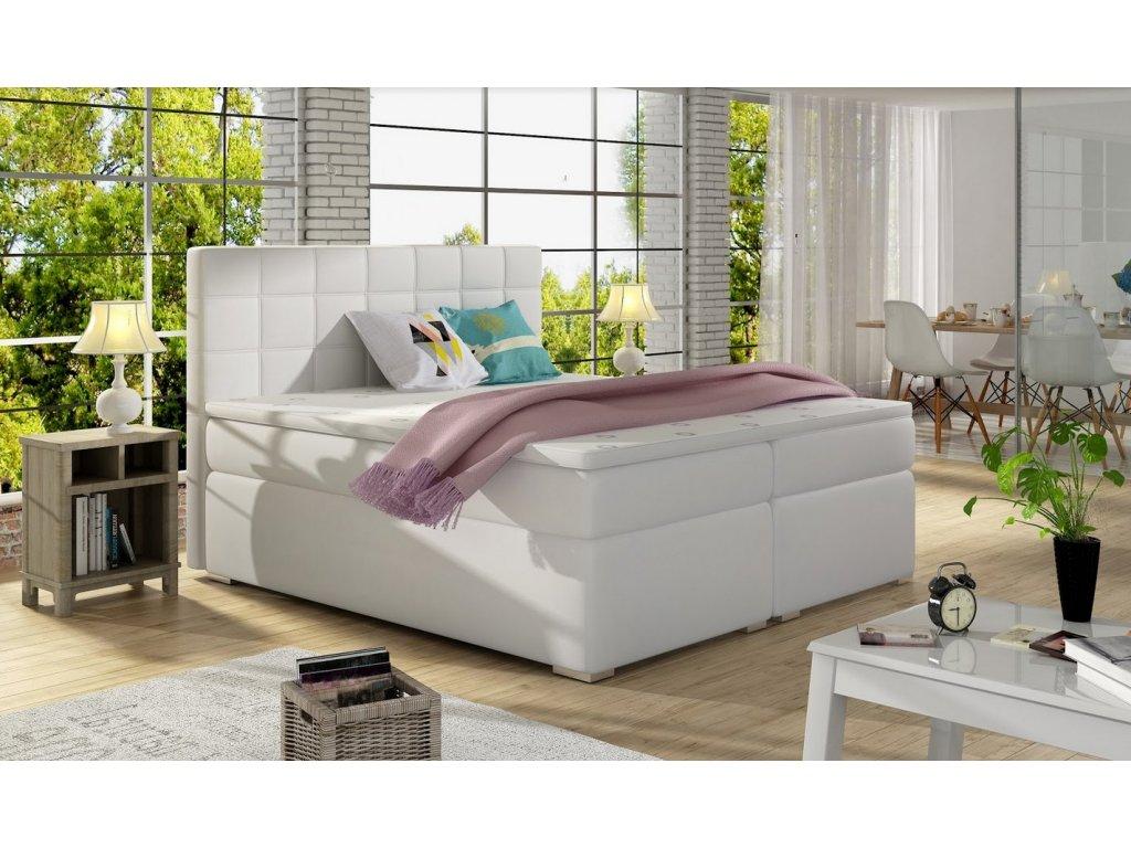 Manželská postel AMANDA BOXSPRINGS 160x200 (ekokůže soft017)