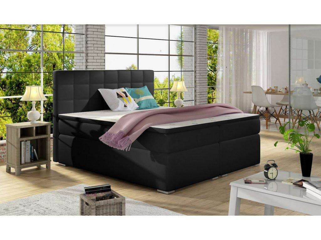 Manželská postel AMANDA BOXSPRINGS 160x200 (ekokůže soft011)