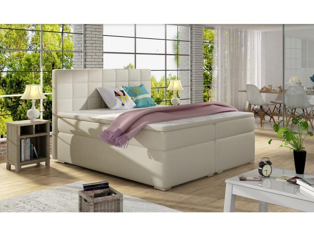 Manželská postel AMANDA BOXSPRINGS 180x200 (ekokůže soft033)