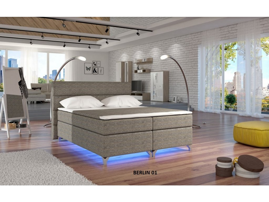Manželská postel ALEX BOXSPRINGS 160x200 (Berlin 01)