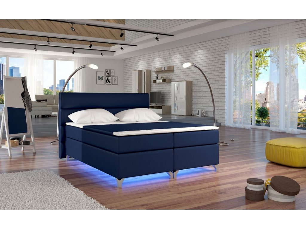 Manželská postel ALEX BOXSPRINGS 180x200 (ekokůže Soft 09)