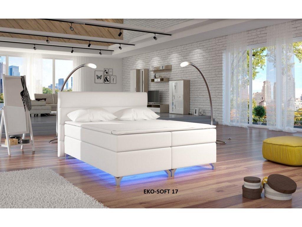 Manželská postel ALEX BOXSPRINGS 180x200 (ekokůže Soft 17)