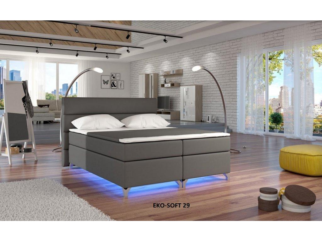 Manželská postel ALEX BOXSPRINGS 160x200 (ekokůže Soft 29)