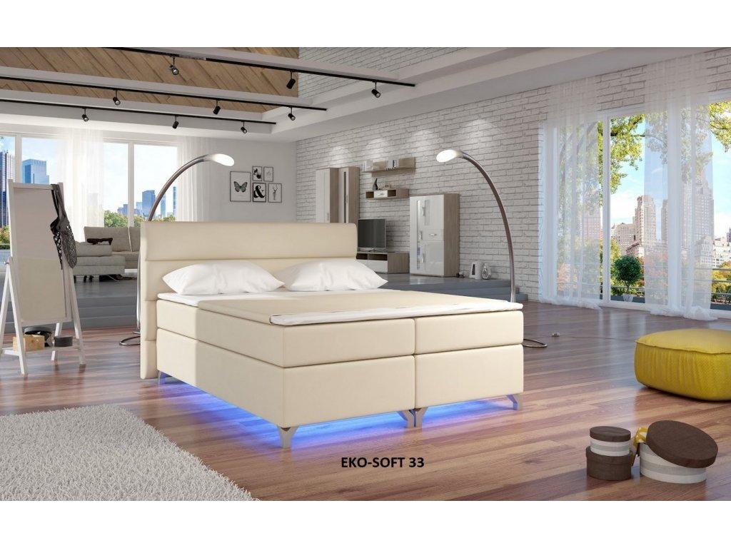 Manželská postel ALEX BOXSPRINGS 160x200 (ekokůže Soft 33)