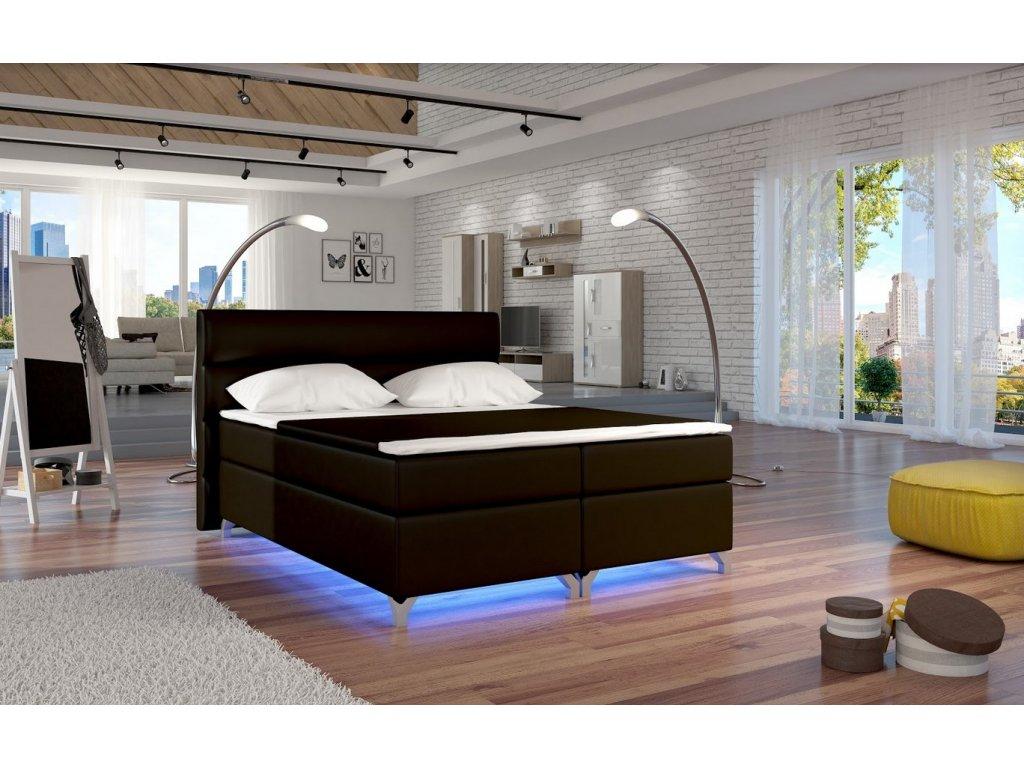 Manželská postel ALEX BOXSPRINGS 160x200 (ekokůže Soft 66)