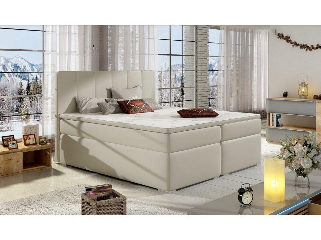 Manželská postel BOLERO BOXSPRINGS 160 x 200 cm (ekokůže soft 033)