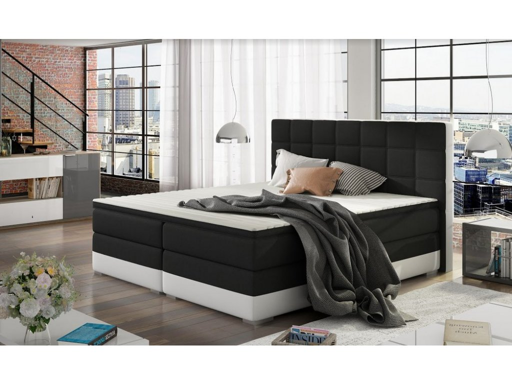 Manželská postel DAMASO BOXSPRINGS 160x200 (sawana 14/soft 17)