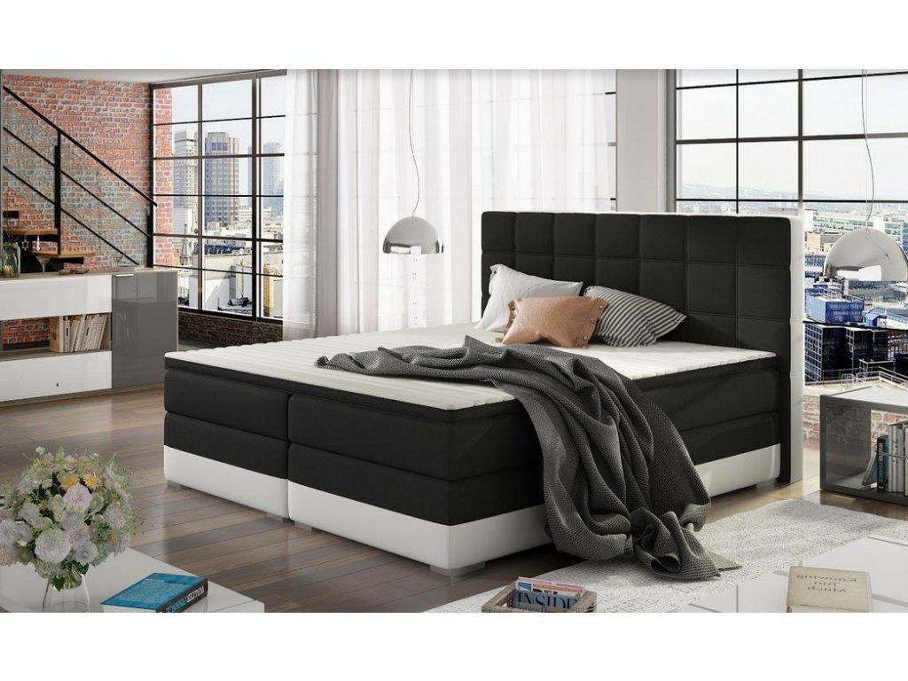 Manželská postel DAMASO BOXSPRINGS 180x200 (sawana 14/soft 17)