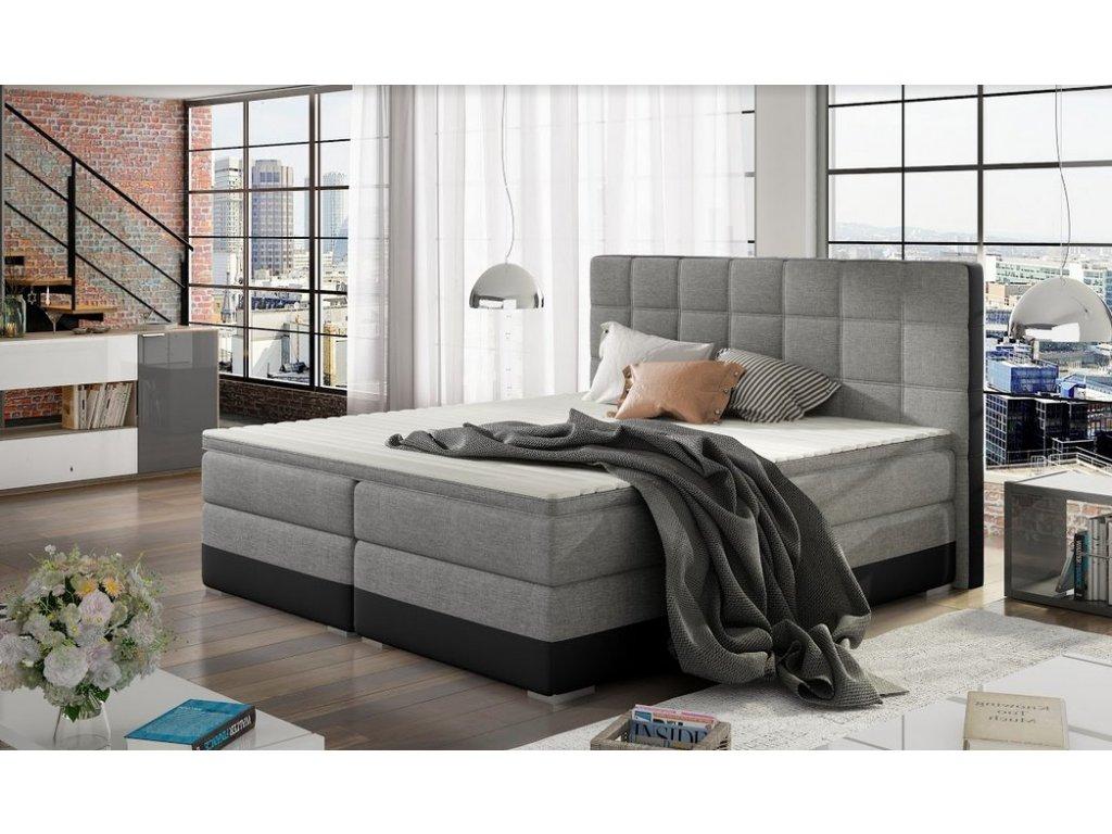 Manželská postel DAMASO BOXSPRINGS 180x200 (sawana 21/soft 11)
