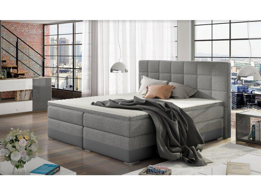 Manželská postel DAMASO BOXSPRINGS 180x200 (sawana 21/soft 29)