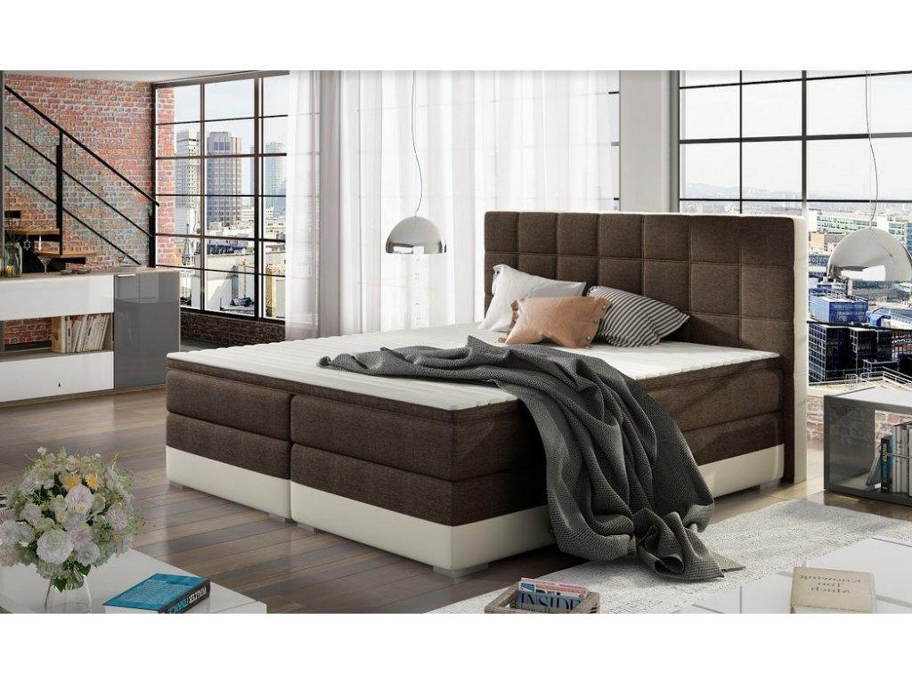 Manželská postel DAMASO BOXSPRINGS 180x200 (sawana 26/soft 33)