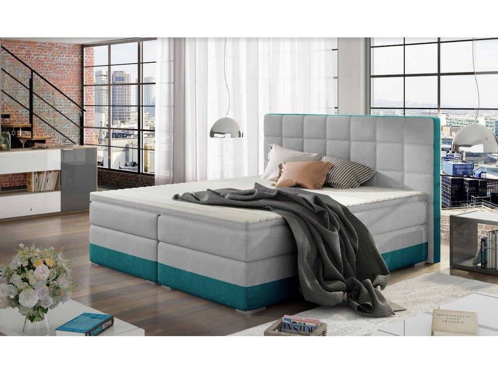 Manželská postel DAMASO BOXSPRINGS 180x200 (orinoco 21 + 85)