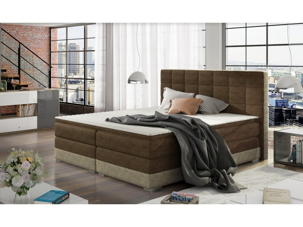 Manželská postel DAMASO BOXSPRINGS 180x200 (dora 26 + 21)