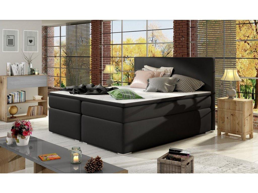 Manželská postel DOLCE BOXSPRINGS 180cm (ekokůže soft 011)