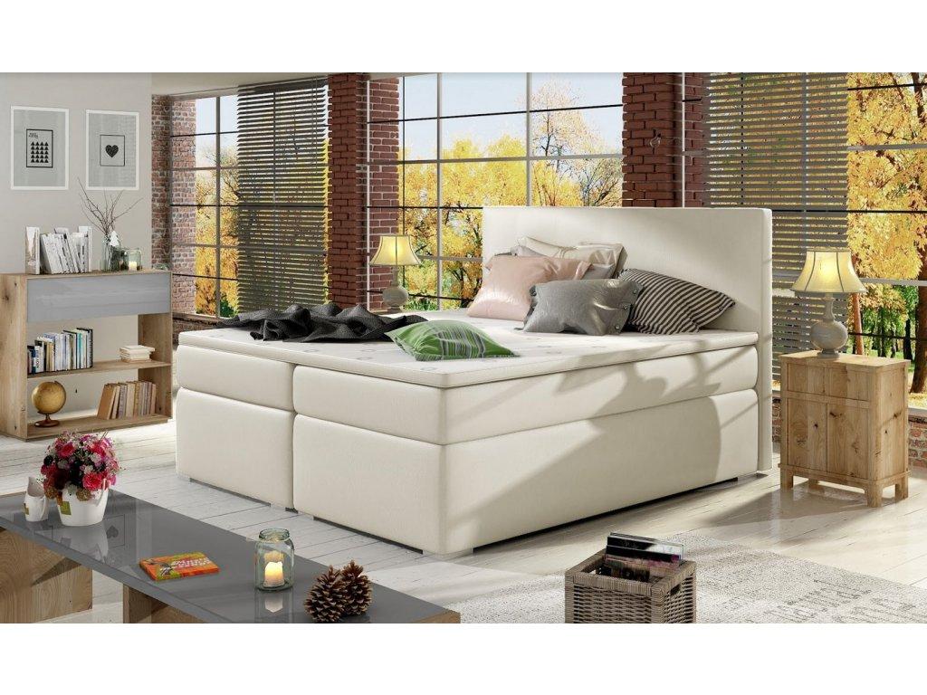 Manželská postel DOLCE BOXSPRINGS 160 cm (ekokůže soft 033)