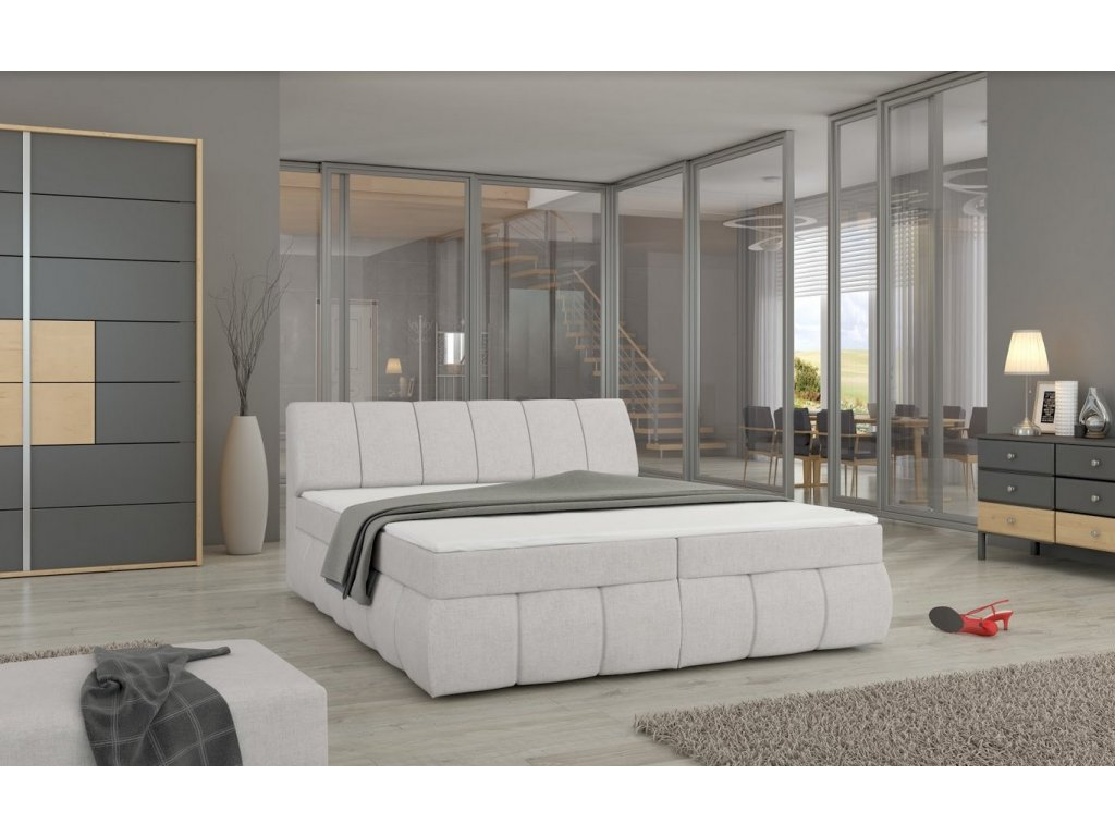 Manželská postel PAOLO BOXSPRINGS 180x200 (orinoco 21)