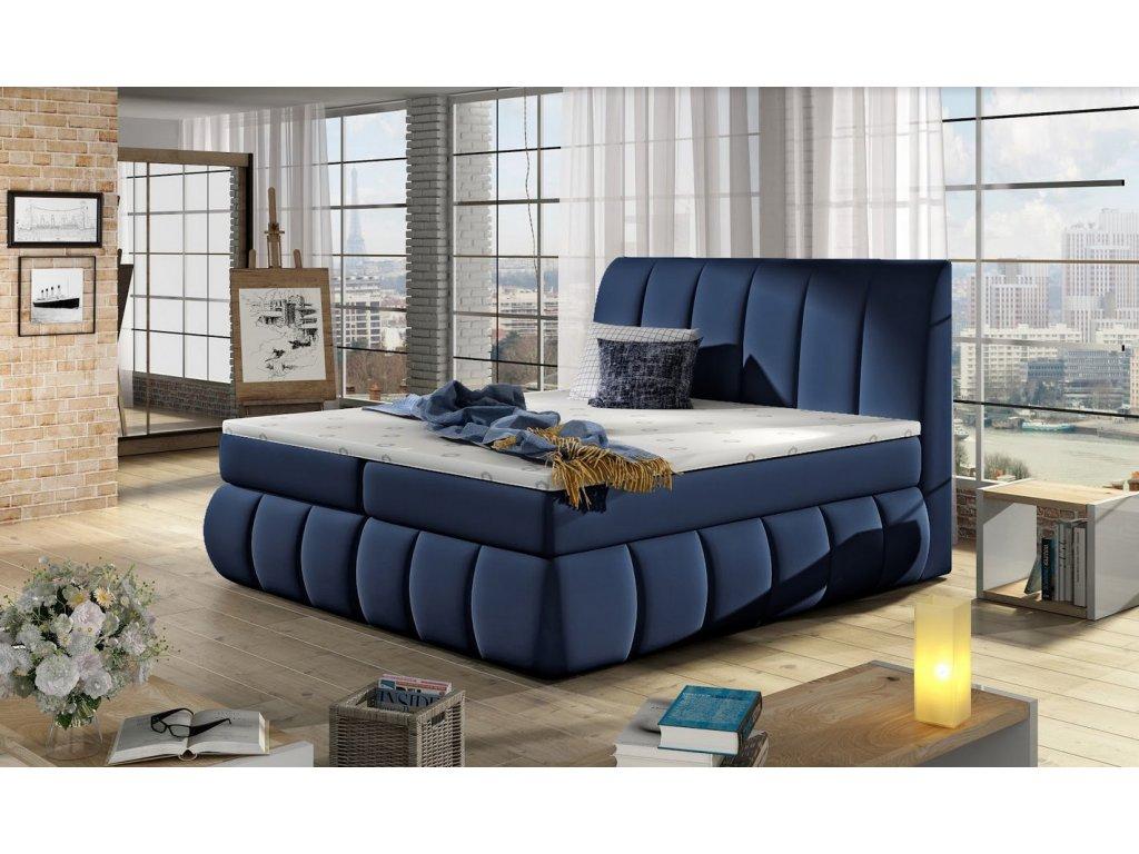 Manželská postel PAOLO BOXSPRINGS 160x200 (ekokůže Soft 09)