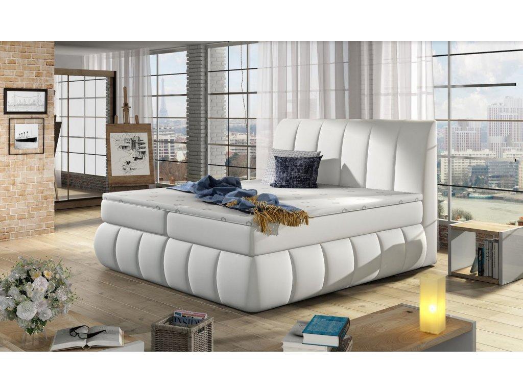 Manželská postel PAOLO BOXSPRINGS 160x200 (ekokůže Soft 17)