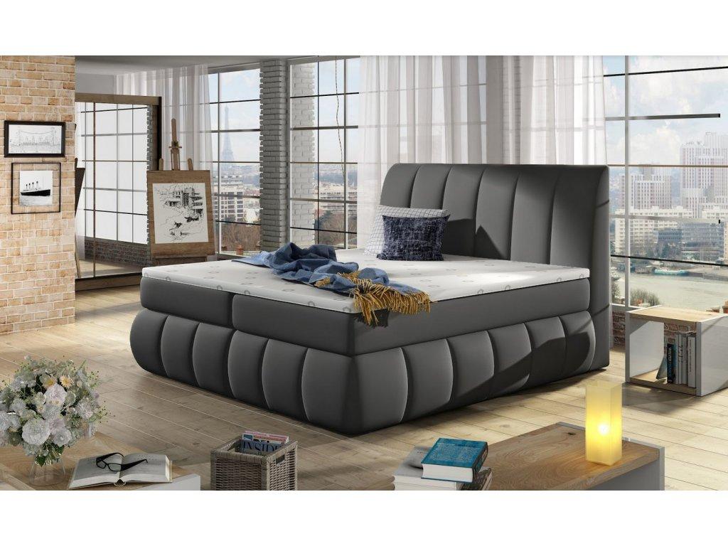 Manželská postel PAOLO BOXSPRINGS 160x200 (ekokůže Soft 29)