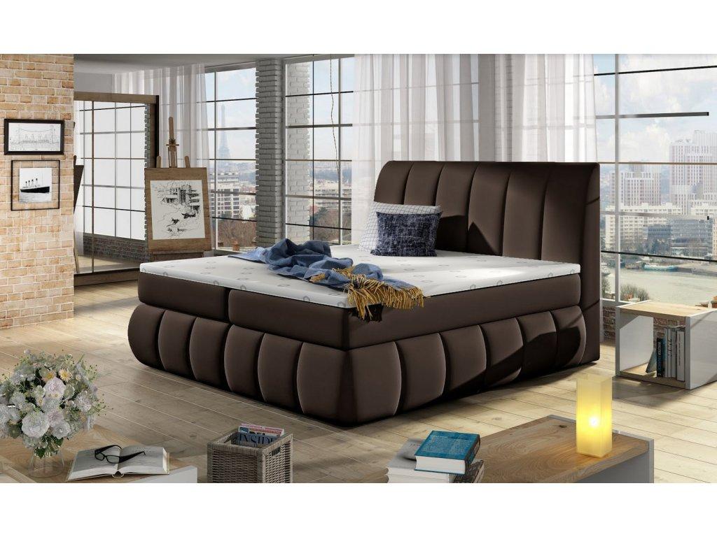Manželská postel PAOLO BOXSPRINGS 160x200 (ekokůže Soft 66)