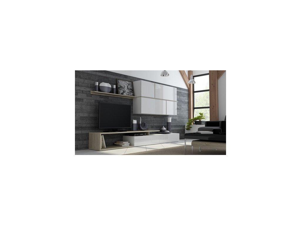 Obývací stěna GOYA  Sonoma dub+bílá lesk