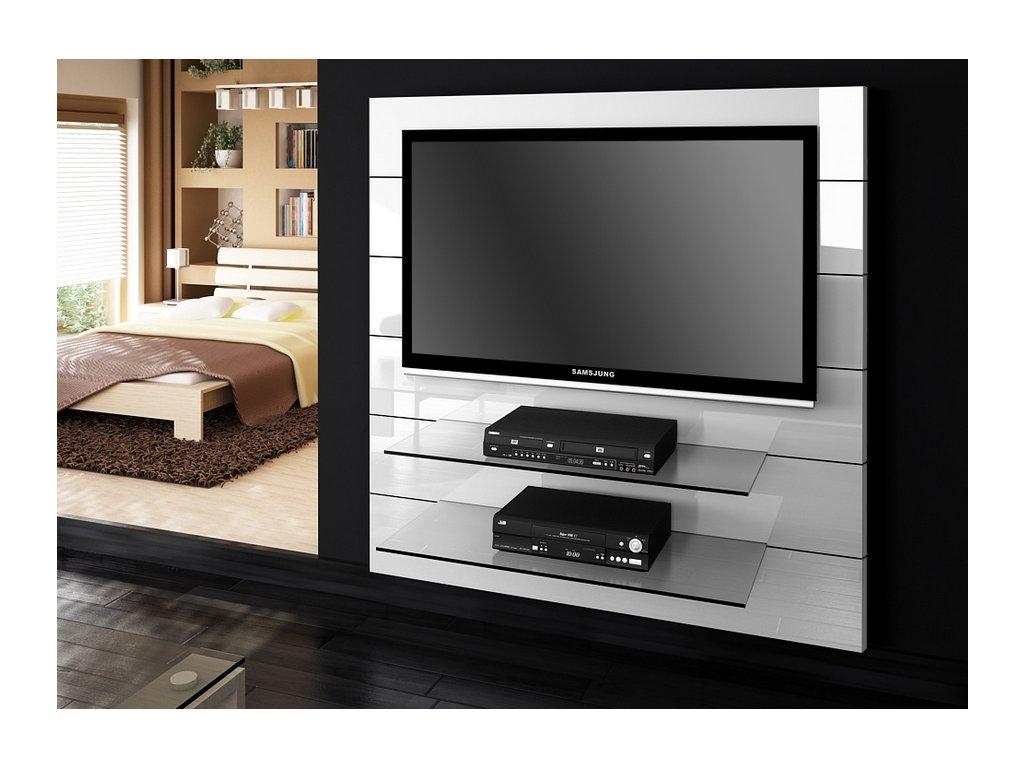 TV stěna PANORAMA 2, bílý lesk SKLADEM 2ks