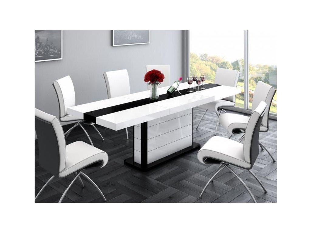 Jídelní stůl PIANOSA, bílo/černý