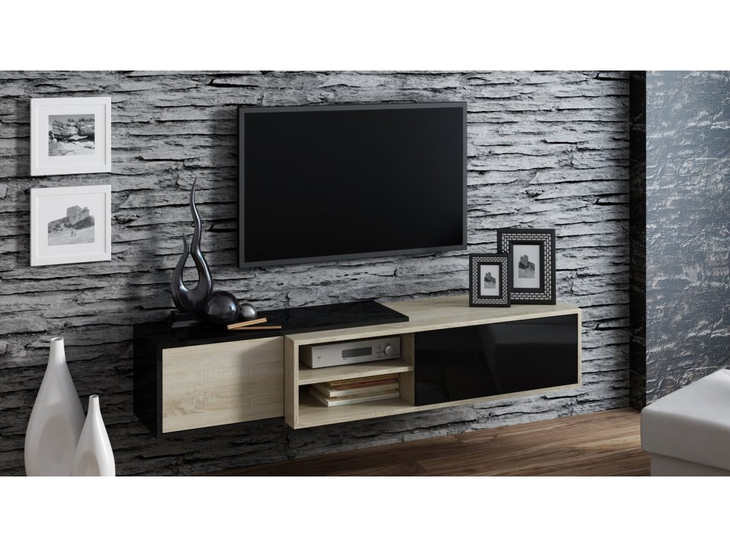 Závěsný televizní stolek SIGMA 1 černá/dub sonoma