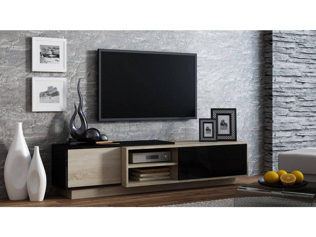 Televizní stolek SIGMA 1 černá/dub sonoma