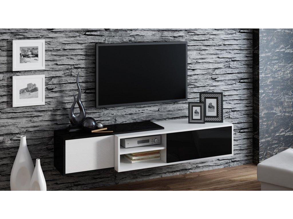 Závěsný televizní stolek SIGMA 1, černo/bílá