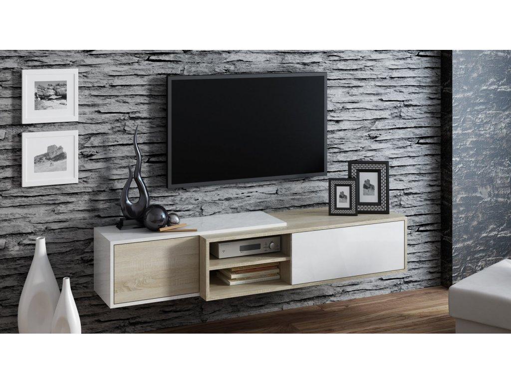 Závěsný televizní stolek SIGMA 1 bílá/dub sonoma