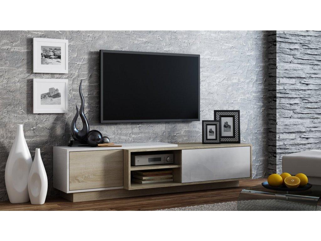 Televizní stolek SIGMA 1 bílá/dub sonoma