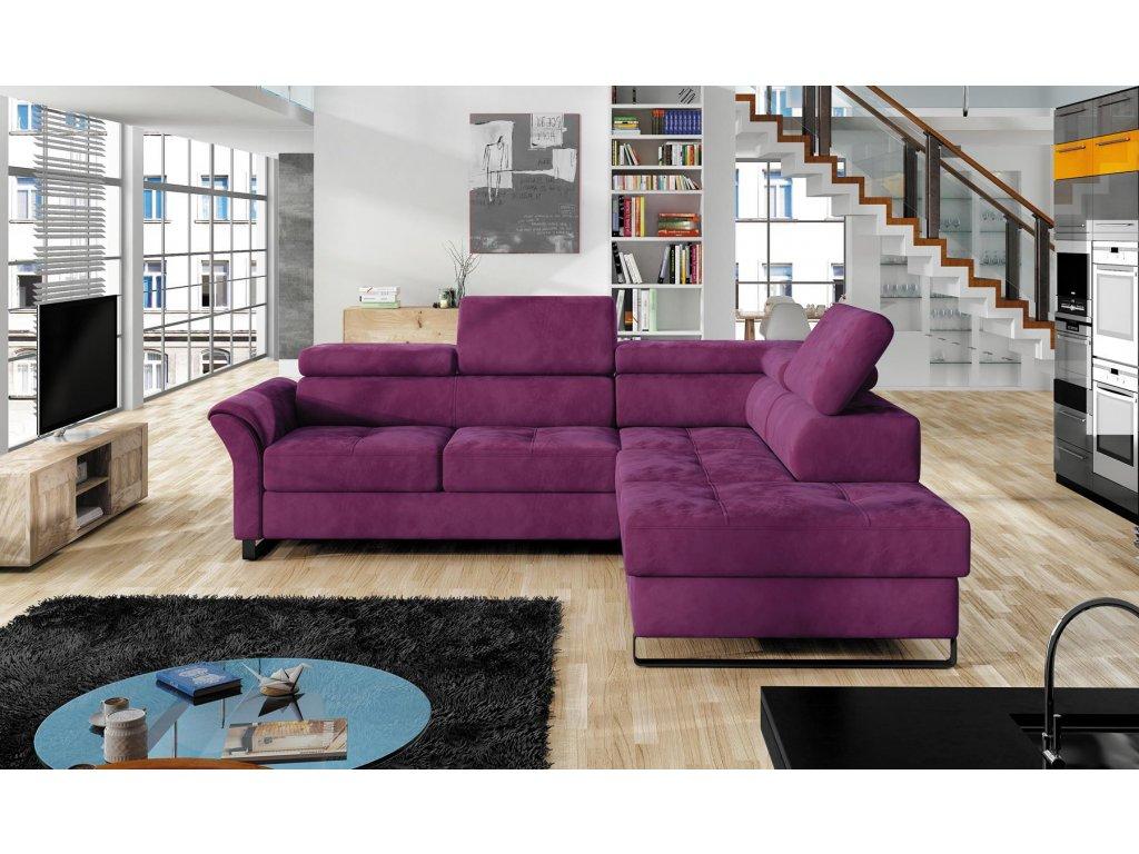 Rohová sedací souprava fialová Avanti