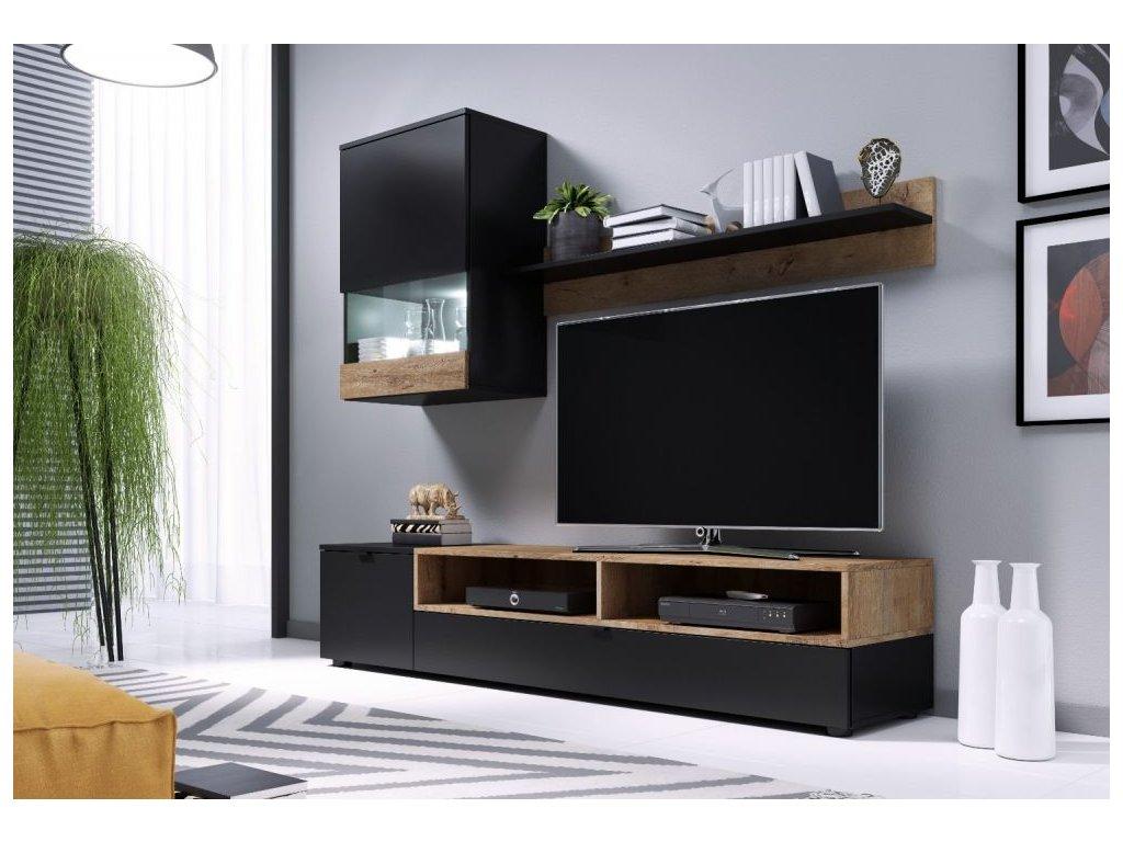 Obývací stěna PAT černý mat+dub lefkas