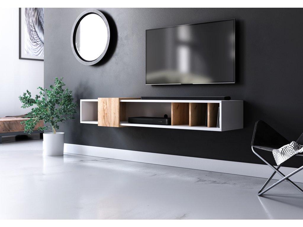 Televizní stolek RONDA bílá/zlatý dub