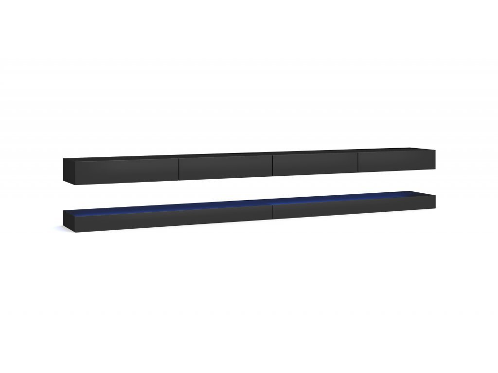 Televizní stolek FLY 280 cm černý/černý