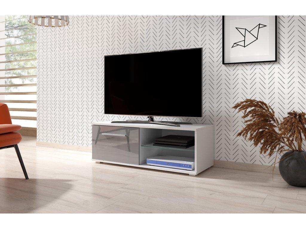 51906 televizni stolek moon 100 cm bily sedy lesk
