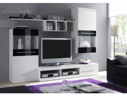 Obývací stěna NICK (bílá mat/černá)
