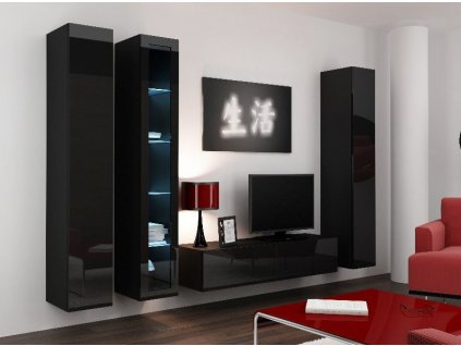 Obývací stěna VIGO 15, černá, SKLADEM