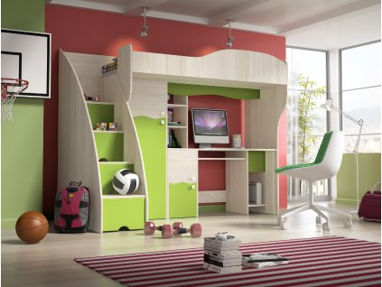 Dětský pokoj/postel BAJKA, jasan/limetka SKLADEM 5ks