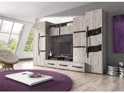 Obývací stěna SAN MARINO (dub craft / dub sonoma čokoláda) SKLADEM 3ks