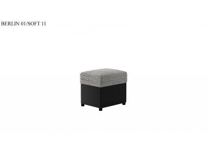 Čalouněný taburet R2, provedení Berlin01Soft11