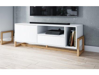 51741 1 televizni stolek oslo bily mat