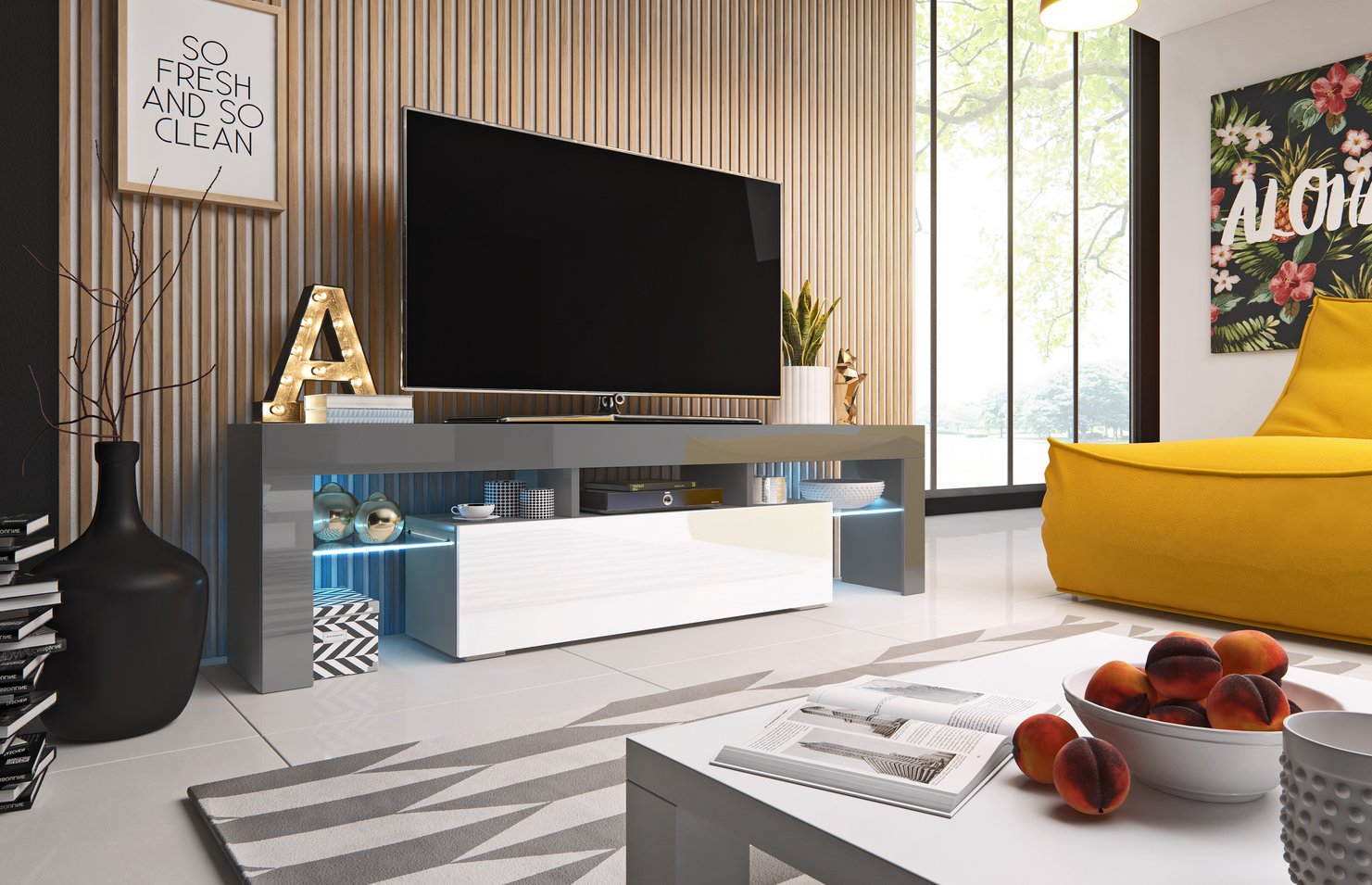 Cama TV stolek TORO 158 Barva: šedá/bílá