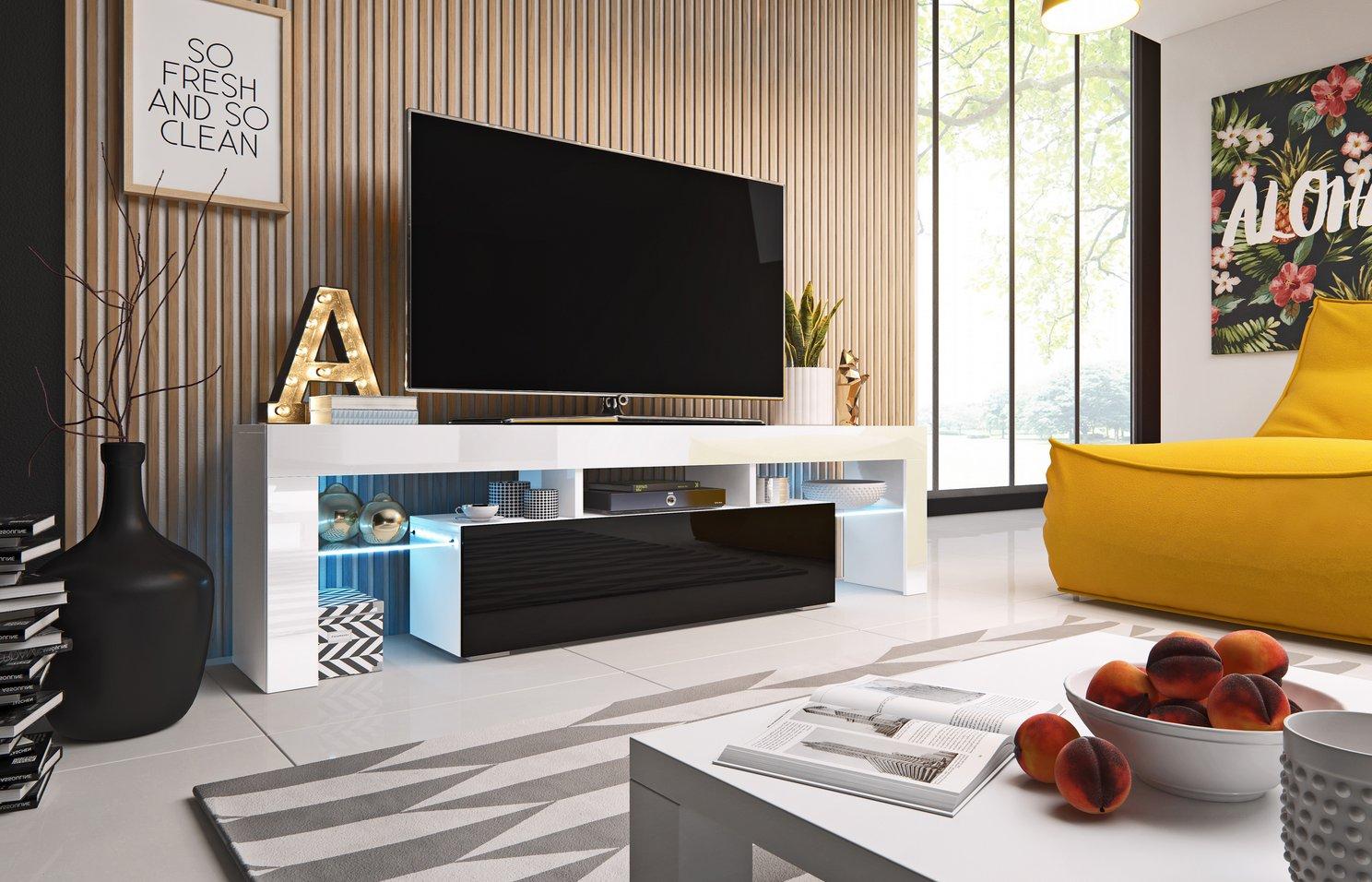 Cama TV stolek TORO 158 Barva: bílá/černá