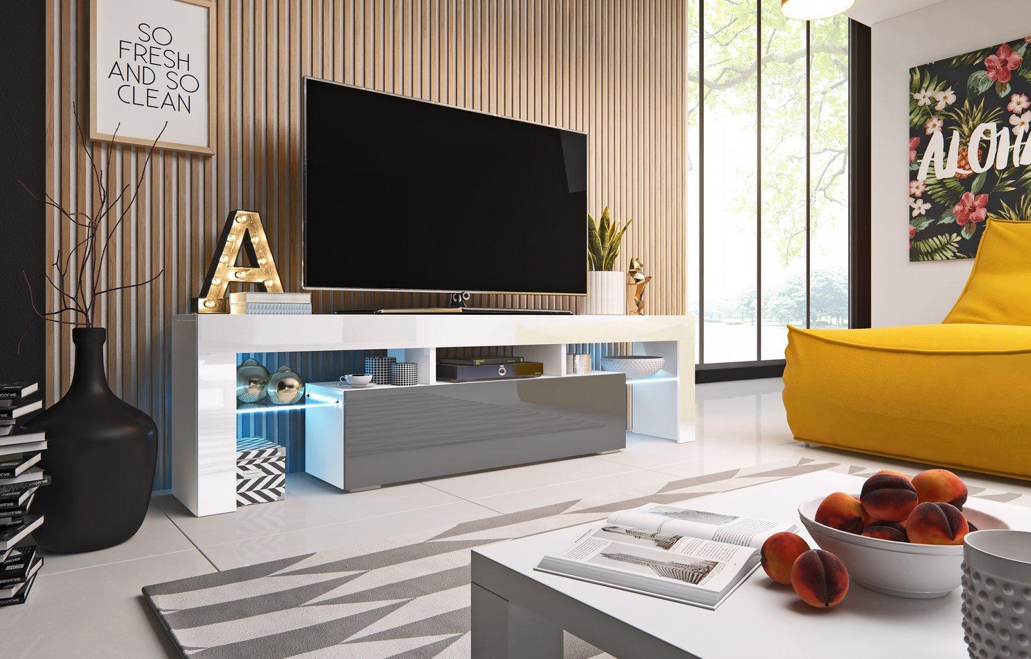 Cama TV stolek TORO 158 Barva: bílá/šedá